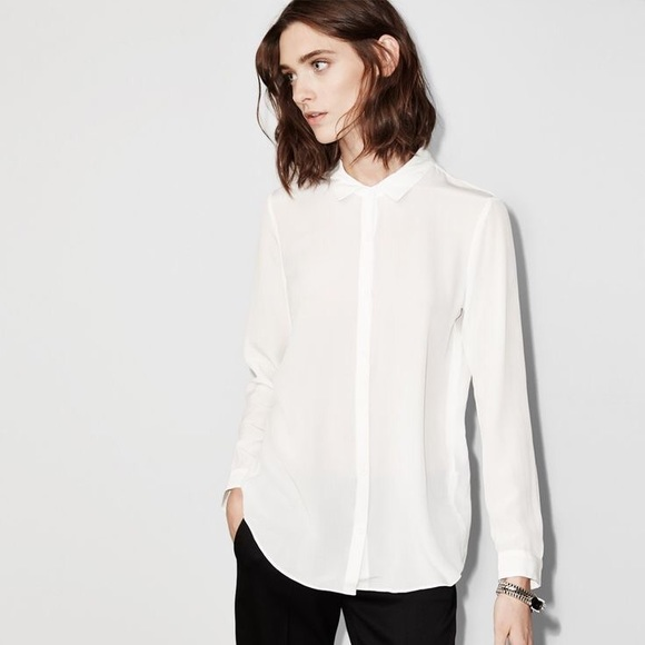 The Kooples Tops Nwt White Sheer Button Up Blouse S Poshmark